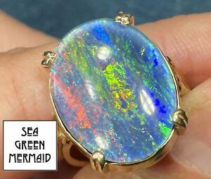 "14k Yellow Gold Australian Black Opal Doublet Ring. HUGE 1"" **VIDEO**"
