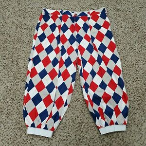 Loud Mouth Golf Mens Pants Size 40 Red Blue White Diamond Print Athletic
