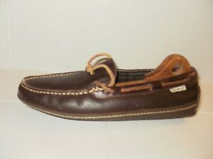 L.L BEAN MEN'S BROWN TEXTURED LEATHER MOC TOE SLIPPERS RUBBER SOLE SIZE 9 M