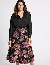 Per Una Black Satin Notch Neck Sequin Cuff Blouse Size 16 BNWT