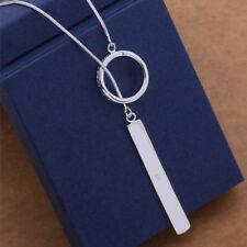 New Women Fashion 925 Sterling Silver Plated Hoop Bar Pendant Lariat Necklace