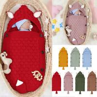 Newborn Infant Baby 3D Rabbit Ear Knitted Swaddle Blanket Sleeping Swaddle Wrap