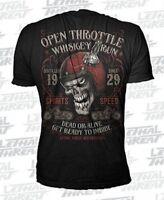 T Shirt Rocker Biker Lethal Threat Tattoo Skull Reaper Hot Rod Open Throttle
