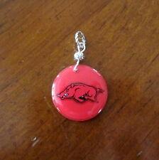 new! University of ARKANSAS RAZORBACKS LOGO PENDANT charm necklace bead jewelry