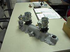 NOS Offy Offenhauser 49-53 8BA Ford Mercury flathead stromberg 97 2 carb intake