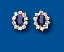 9ct Yellow Gold Sapphire & Cubic Zirconia Oval Cluster Studs AP2065