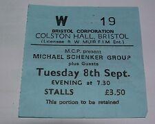 Michael Schenker Group 8th Sept 1981 Colston Hall Bristol UK Ticket MSG