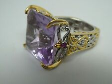Michael Valitutti Signed NH Sterling Silver 925 Amethyst Cocktail Ring Size 6.75