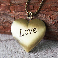 Elegant Love Heart Brass Picture Photo Locket Charm Pendant Chain Necklace