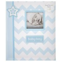 MY BABY FIRST MEMORIES BOOK - LIL PEACH BOYS BLUE ZIGZAG - KEEPSAKE RECORD ALBUM