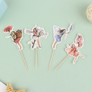 24Pcs Flower Fairy Girls Party Cupcake Cake Toppers Picks Birthday Party DecBP1