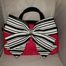 Betsey Johnson Handbag Pink Quilted Lg Black White Bow
