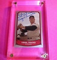 1989 Pacific BASEBALL Legends #120,  SIGNED Virgil Trucks Autograph Auto A's