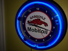 *** Mobil Gargoyle Oil Gas Service Station Man Cave Blue Neon Wall Clock Sign