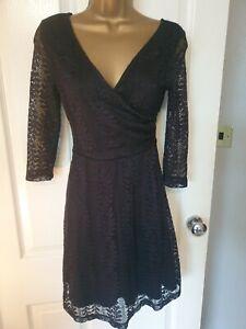 NEW LOOK Black Lace Skater Smart dress Size UK 8 lined