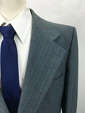 44L Vintage Botany 500 Mens 2 Button Gray & Green Stripe Blazer Sport Coat