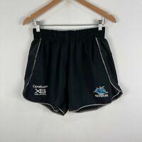 Cronulla Sharks NRL Rugby Shorts Mens Medium Black Elastic Waist