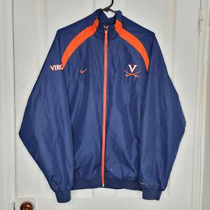 Nike Team UVA Virginia Cavaliers Zip Up Windbreaker Mens Medium Blue Orange NCAA