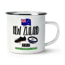 Rugby New Zealand Retro Enamel Mug Cup - Funny League Union Flag Sport Camping