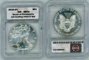 2016 (P) American Eagle $1 Struck at Philadelphia ICG MS70 Certified Silver Coin