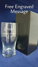 PERSONALISED ENGRAVED PINT GLASS Inc GIFT BOX DAD UNCLE BROTHER BIRTHDAY GIFT