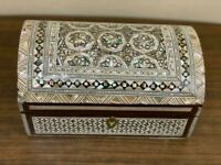 Handmade Wood Jewelry Box Inlaid Mother of Pearl 7.8x5.8