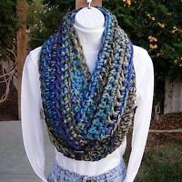 INFINITY SCARF Loop Cowl Blue Gray Grey Chunky Winter Handmade Soft Crochet Knit