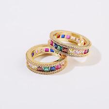 Men Women Luxury Colors CZ Zircon Crystal Lover Fashion Wedding Rainbow Rings