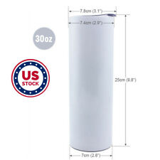 Usa 10pack 30oz Sublimation Blank White Skinny Tumbler Stainless Steel Insulated
