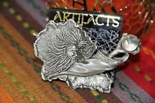 JJ Jonette Vintage Signed Wizard reaching for crystal Pewter Pin NEW RARE Brooch
