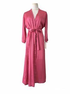 NWOT Oscar de la Renta Pink Label Satin Kimono Wrap Robe White  L  Floral Shiny