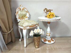 1:4 doll chair white baroque, BJD doll furniture, vintage furniture