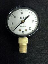 """USG 0-30 IN Hg VACUUM GAUGE 2"""" FACE 1/4"""" PIPE"""