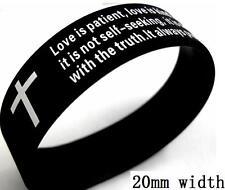 50x Black Love 1 Corinthians 13:4 Religious Faith Bible Verse Cross Bracelets