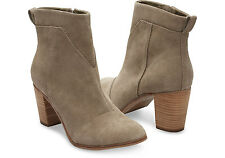 TOMS TAUPE LEATHER SUEDE WOMEN'S LUNATA BOOTIES SHOES. Style 10006215