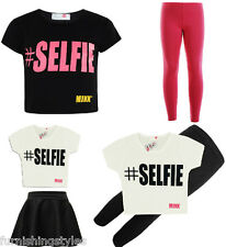 KIDS GIRLS SELFIE CROP TOP WITH SKATER SKIRT AND LEGGING SET BLACK AND WHITE