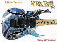F Hole Iban Paul Gilbert style Guitar and Bass Decals sticker set 2 Color
