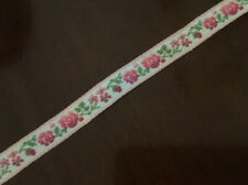 Vintage Jacquard Embroidery Ribbon Trim Pink Flower Green Leaves, .99/yard Usa