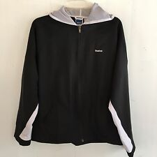 Reebok Womens Large Black Hooded Athletic Zip Up Lightweight Track Jacket