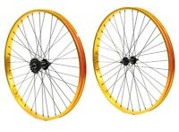 "Beach Cruiser bike 26""x 32mm Fat Front & Rear Wheels Wheelset Rims Gold"