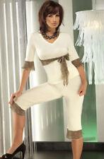 Irall Cornelie Satin Pyjama Set Sumptuous Cream / Panther Boxed Size Medium