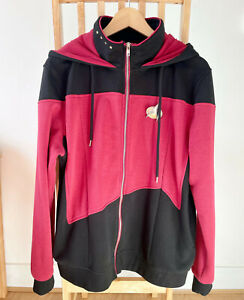 Star Trek Next Generation Hoodie M with comm badge pin Red-Black Captain Picard