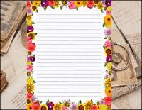 Bold Floral Border Design Lined Stationery Writing Set, 25 sheets & 10 envelopes