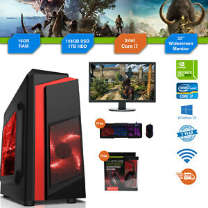 Gaming PC Bundle Intel Core i7 3.4GHz Win10 GTX1650 16GB RAM 128GB SSD 1TB Cheap