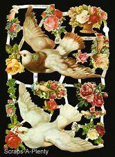 German Embossed Scrap Die Cut - Birds, Doves & Roses WOW  EF7092