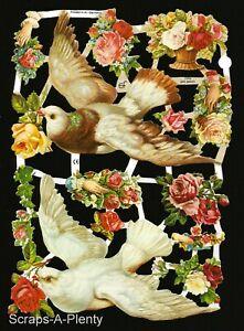 German Embossed Vintage Style Scrap Die Cut - Birds, Doves & Roses WOW  EF7092