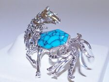 GENUINE! Arizona Turquoise, Marcasite & Emerald Horse Brooch Solid S/Silver 925
