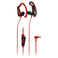 Pioneer SE-E5T Red Sports Earphones. Sweat and Rain Resistant with Ear Hook