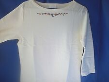 Shirt Ladies Casual Cream Boatneck Shirt By Avon  Medium  Embroidered Top   NEW!