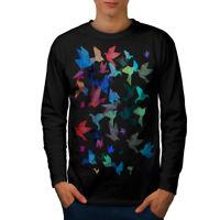 Wellcoda Origami Bird Colors Mens Long Sleeve T-shirt, Craft Graphic Design